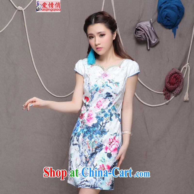 Love, 2015 China wind National wind improved stylish commuter cultivating graphics thin cheongsam FF 9904 white XL