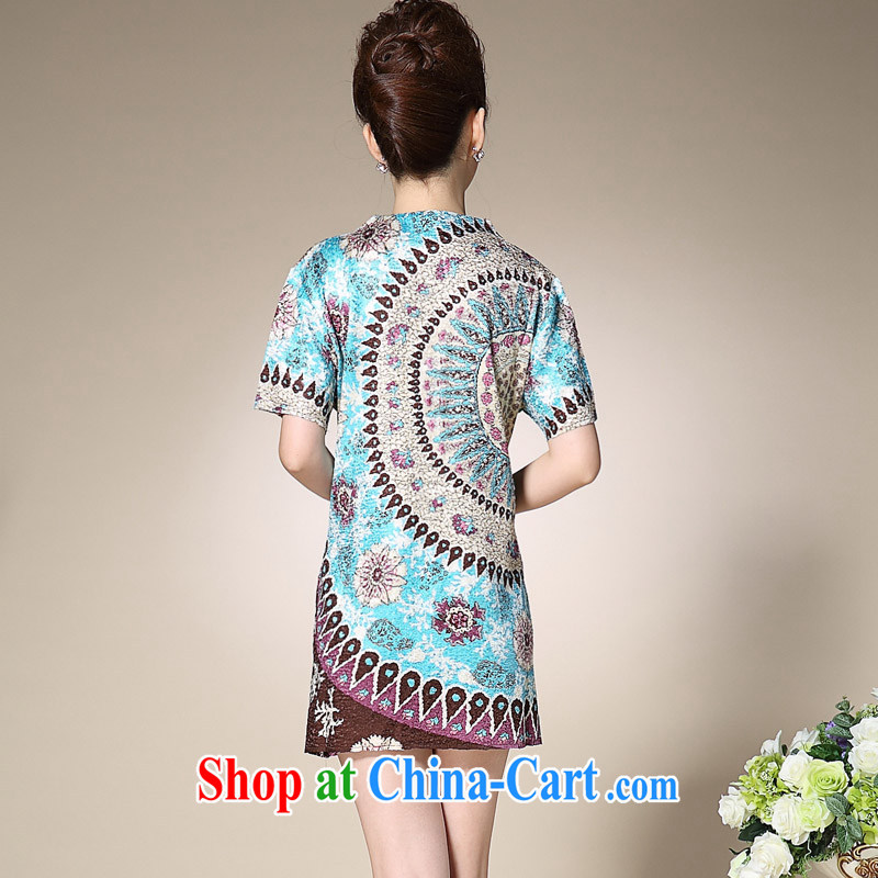 SILKAGE spring and summer new linen silk silk folds in stamp duty older mothers with larger, long, short-sleeved T-shirt nation jn102blue 3 XL, SILKAGE, shopping on the Internet