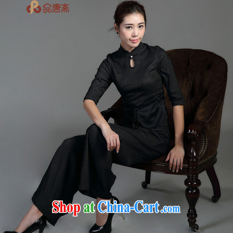 Mr Tang, Id al-Fitr spring new 2015 National wind up for the charge-back cultivating improved Han-dresses T-shirt black XL