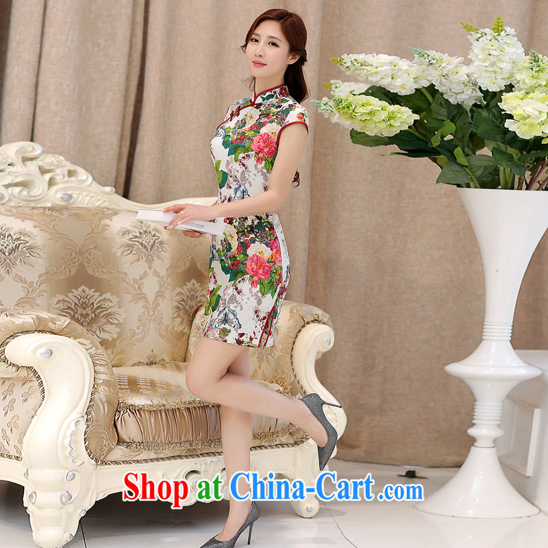 The Diane poetry 2015 new summer girl cheongsam dress sense of performance and the relatively short, cultivating ceremonial improved my store cheongsam qipao Butterfly Dance floral Butterfly Dance flowers L