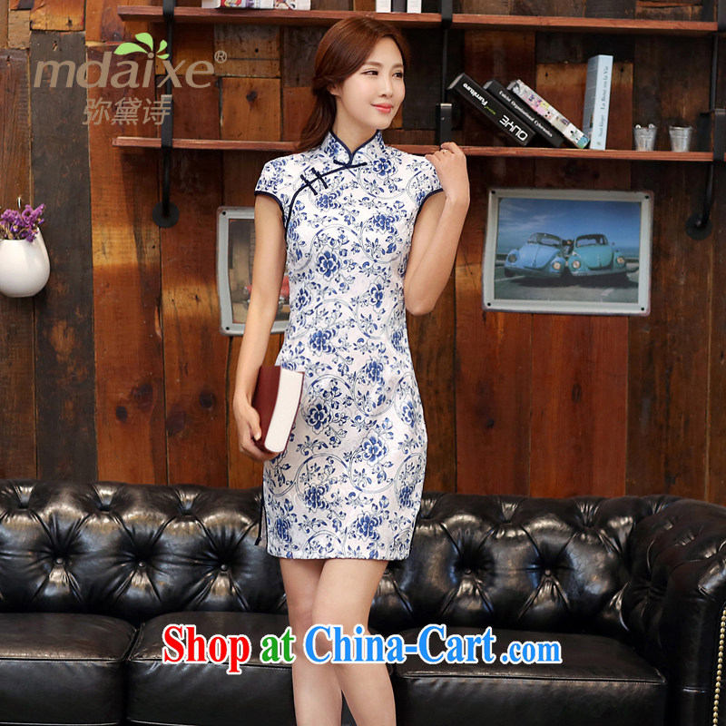 2015 new summer outfit with blue and white porcelain retro fashion beauty graphics thin cheongsam improved qipao cheongsam dress white blue S