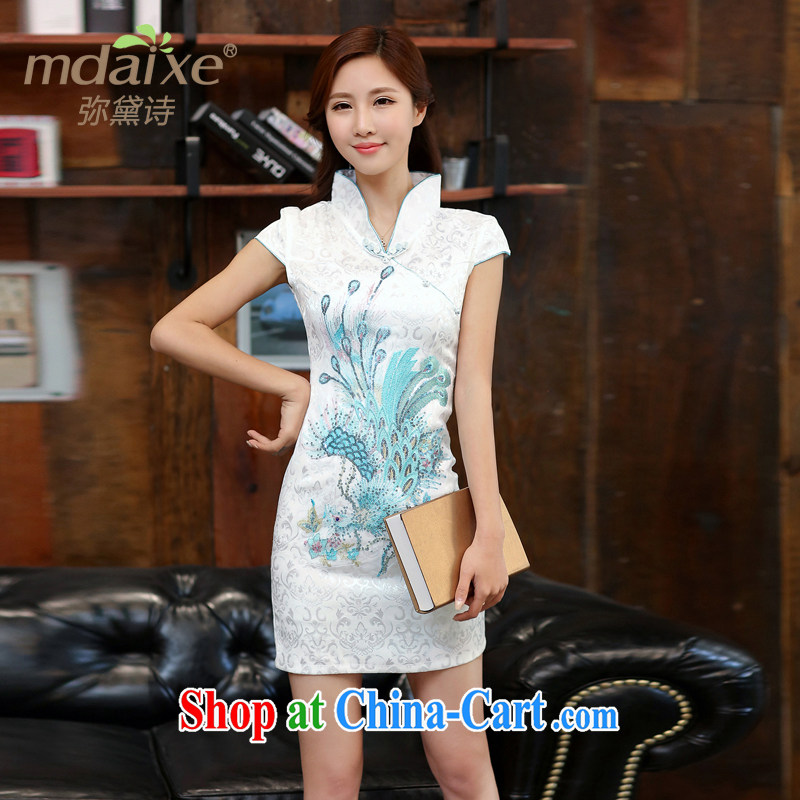 2015 new dresses dresses wedding dresses Chinese spring and summer red lace retro improved bridal toast clothing cheongsam red the Golden Phoenix?Blue on white Phoenix L