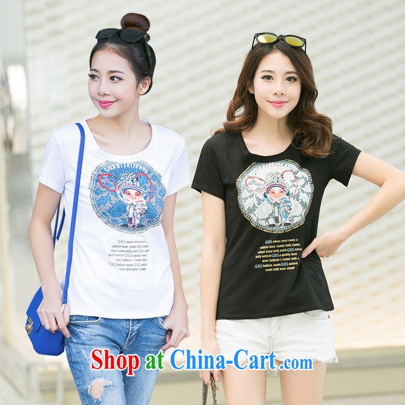 Ya-ting store 2015 summer Korean Version Stamp new graphics thin beauty arts round-collar dazzled parquet drill female short-sleeved T pension black XL