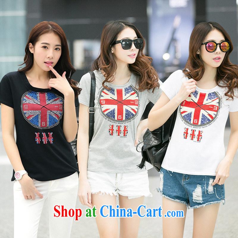 Ya-ting store 2015 Korean new girls summer fashion beauty graphics thin hot drill stamp round-collar short-sleeve T-shirt black XL