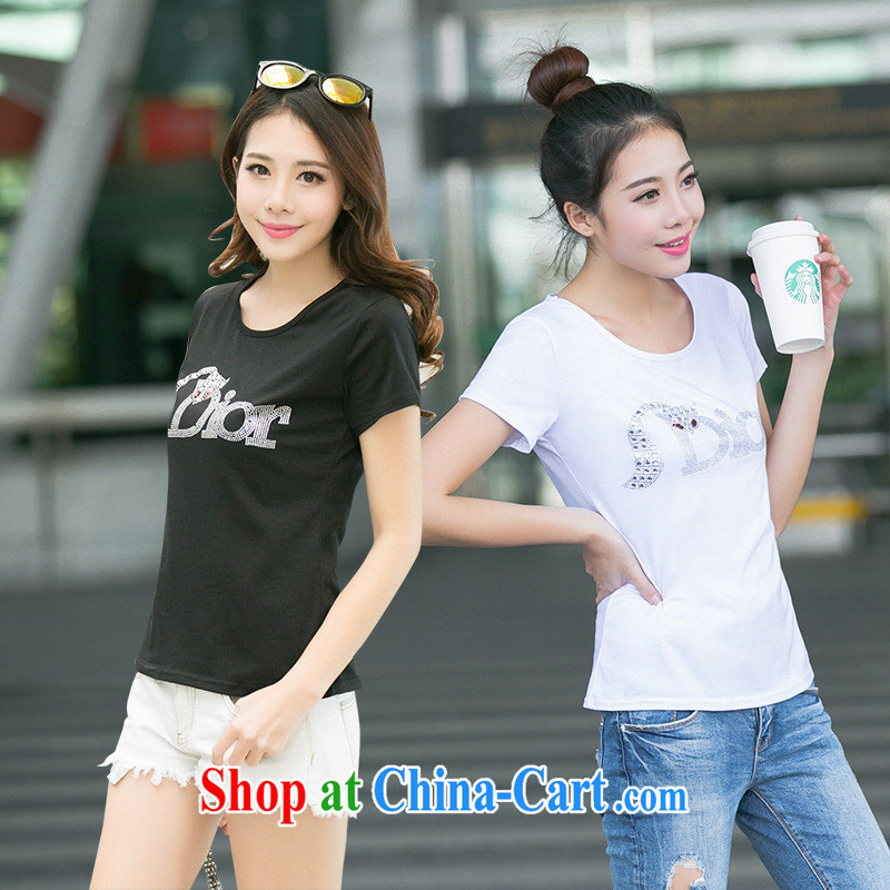 Ya-ting store 2015 new summer Korean female round-collar XL Black beauty wood drill Fox letter short-sleeved T-shirt white XL