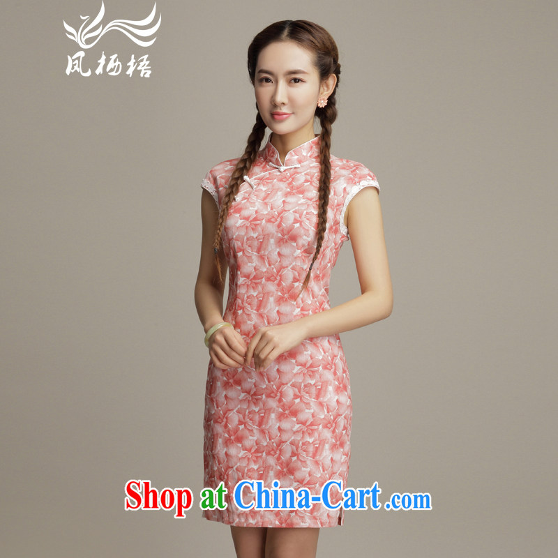 Bong-amphibious Ori-floral retro style cotton the cheongsam sexy beauty daily fashion cheongsam dress DQ 1592 pink XXL