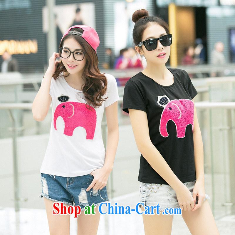 Ya-ting store 2015 summer new female Korean fashion beauty school video thin embroidered round-collar short-sleeve shirt T black XL