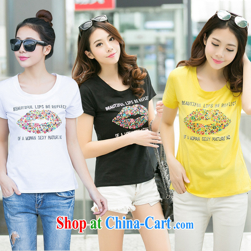 Ya-ting store summer 2015 new female lips stamp larger Korean Beauty graphics thin stylish short-sleeve shirt T white XL