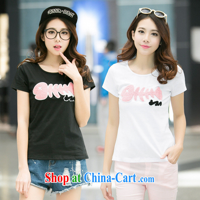 Ya-ting store 2015 summer new Korean-Solid Color beauty female fish bones towel embroidered short sleeve T-shirt white XL