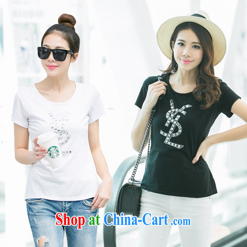 Ya-ting store 2015 summer Korean version of the new, female hot drill round-collar black white cultivating short-sleeved T-shirt black XL