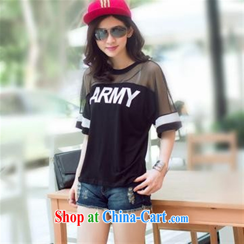 Ya-ting store summer 2015 new Korean women fashion style stamp Web yarn stitching short-sleeved shirt T larger women white color 2 XL