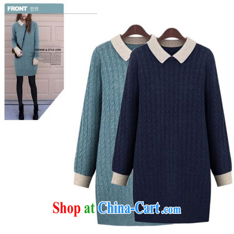 The European site autumn new thick MM women in Europe and America with the single largest number female child for woolen sweater dresses mint blue 5XL