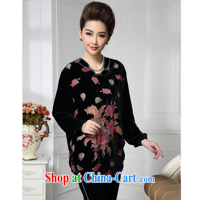 Forest narcissus spring 2015 the new Chinese leader in relaxed long flower mom with silk stitching sauna Silk Velvet jacket HGL - 471 photo color XXXXL