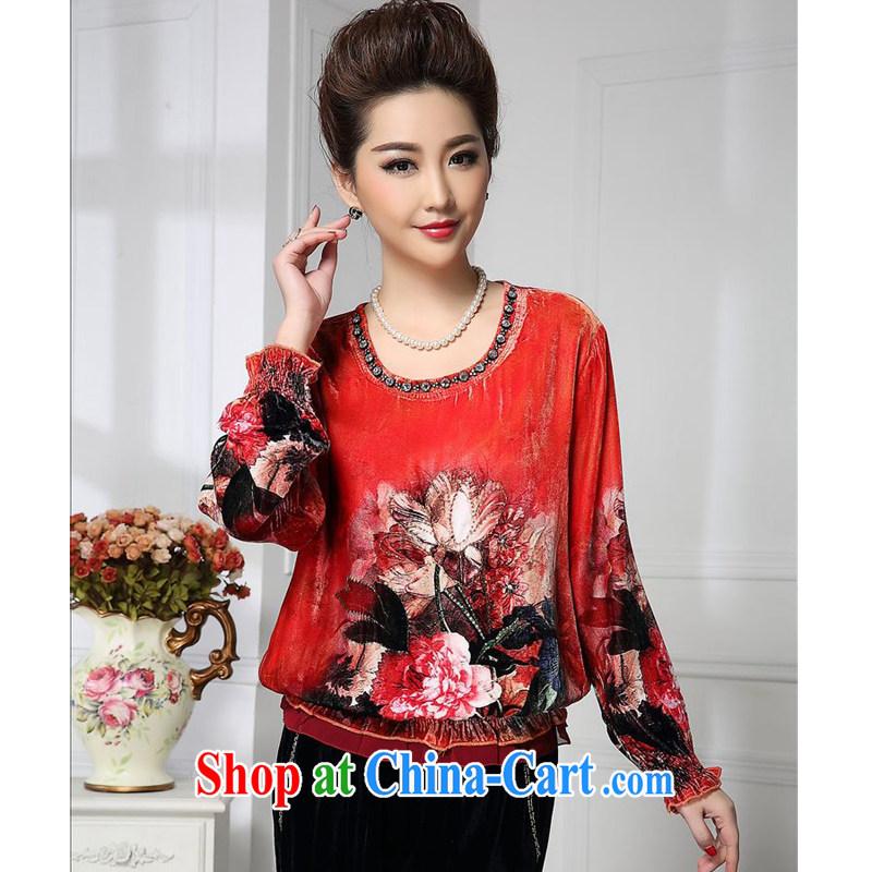 Forest narcissus spring 2015 the new liberal orange-red commuter elegant Chinese mother with silk stitching sauna Silk Velvet jacket HGL - 461 orange-red XXXXL