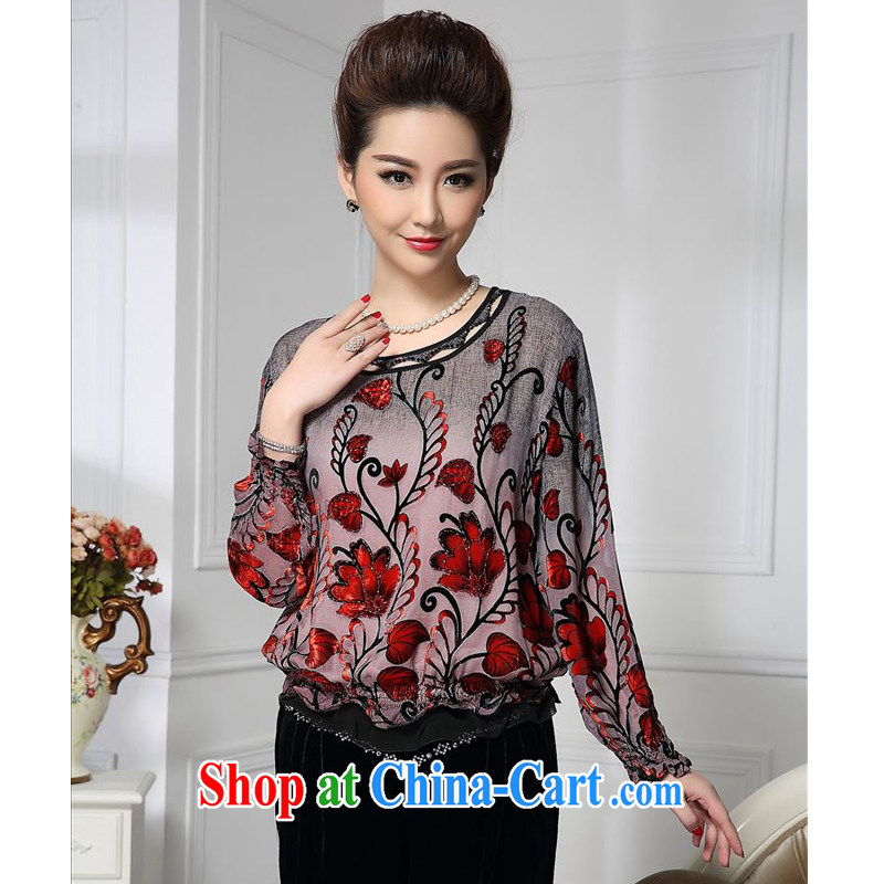 Forest narcissus spring 2015 the new Latitude gradient curled red floral Chinese mother with silk stitching sauna Silk Velvet jacket HGL - 437 photo color XXXXL