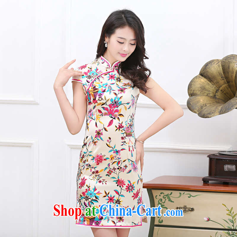 Toner mud snails summer 2015 new female sauna silk Silk Dresses 7 color saffron Silk Cheongsam short skirt style short-sleeve classic qipao skirts light yellow M