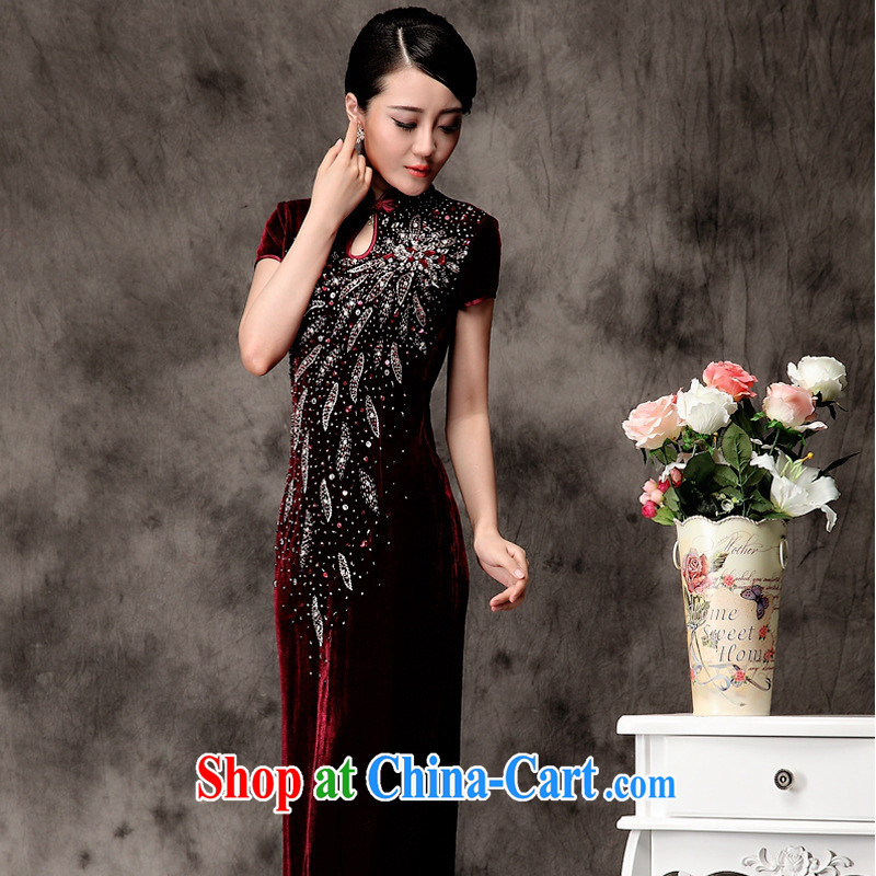 2014 long, purely manual the pearl cheongsam improved warranty stretch lint-free cloth robes long short-sleeved Uhlans on XXXXL