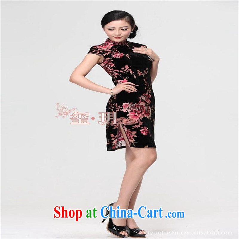 elections -- 2014 spring and summer high Silk Velvet cheongsam minimalist elegance/hand-tie/short cheongsam picture color XXXXL
