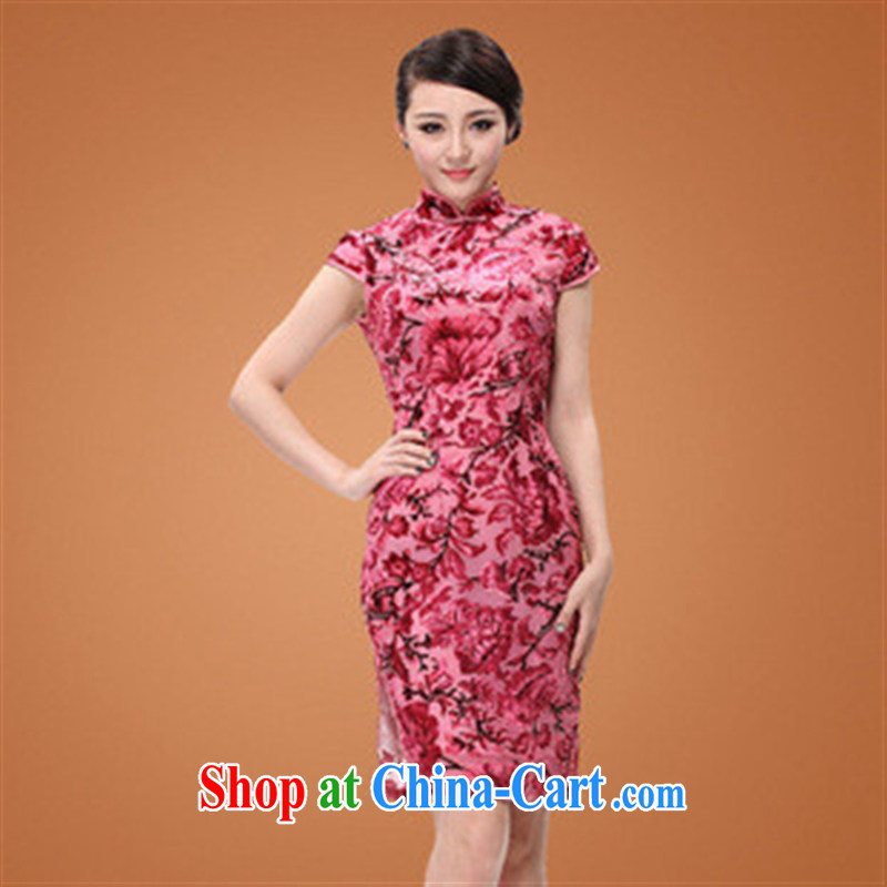 As smoke-free summer really high velvet cheongsam improved cultivating short cheongsam qipao daily picture color XXXXL