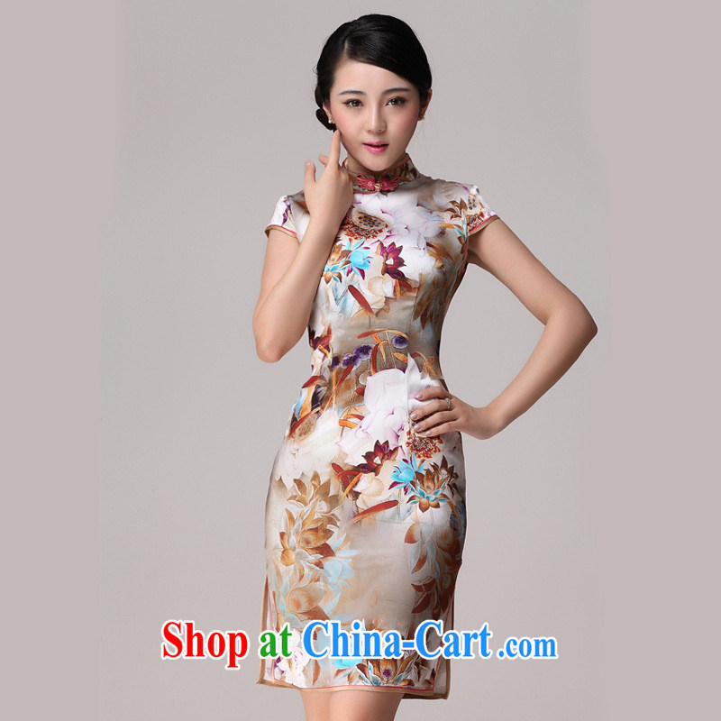 elections -- 2014 summer Silk Cheongsam beauty retro daily heavy Silk Cheongsam picture color XXL