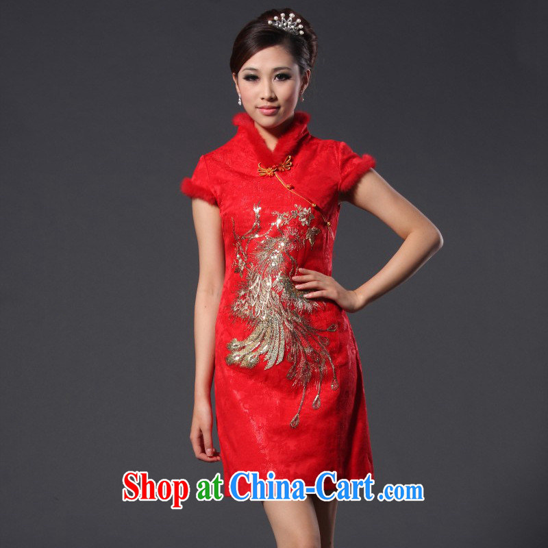 New Spring 2014 spring, female Phoenix the cotton rabbit hair bridal red short cheongsam wedding dress red XL