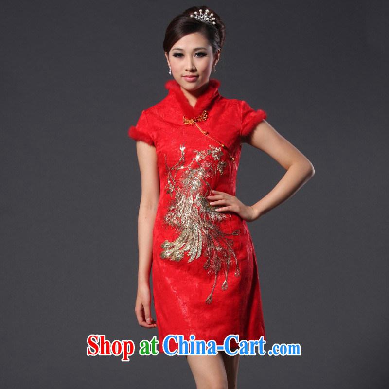 New Spring 2014 spring, female Phoenix the cotton rabbit hair bridal red short cheongsam wedding dress red XL