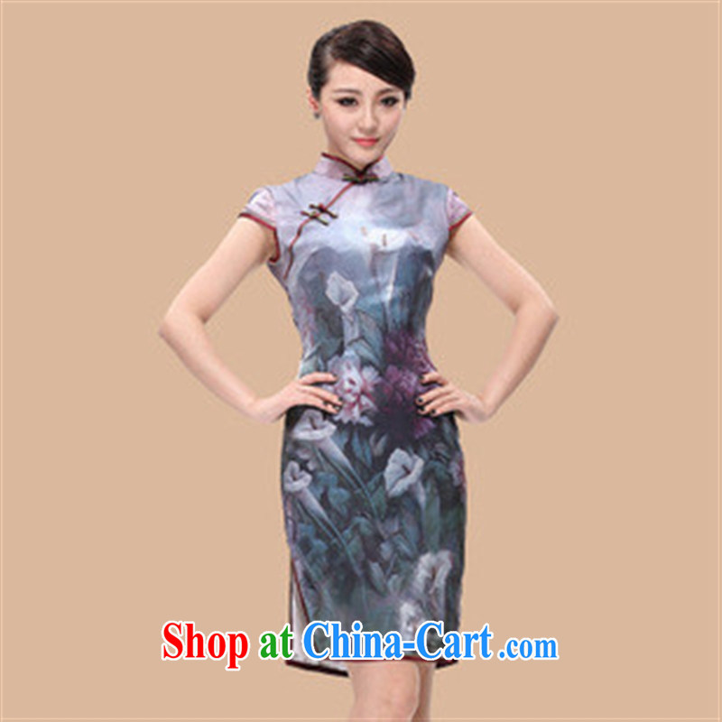 Wholesale dresses sexy water heavy Silk Cheongsam/Summer silk day dresses skirts/improved stylish picture color L
