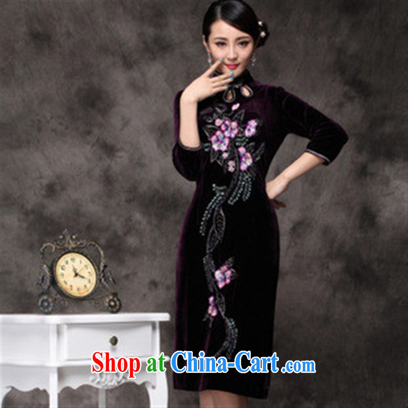 New winter cheongsam wholesale high quality velour cheongsam manually staple bead craft goods improved factory direct purple 5 XL