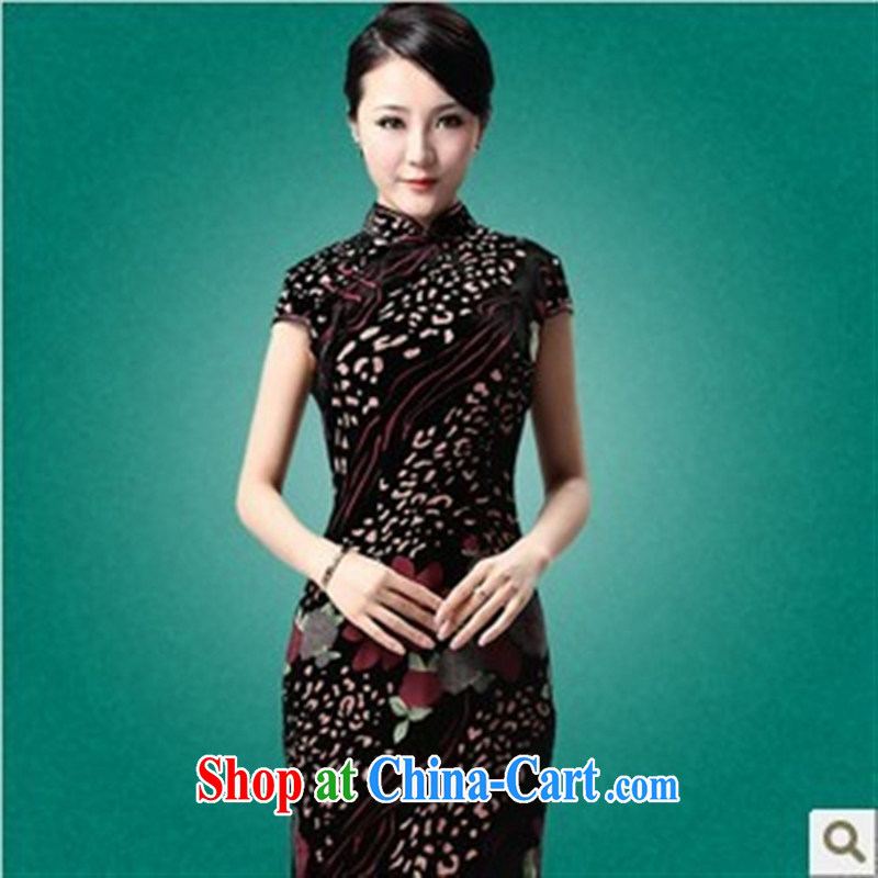 New wedding dresses short Silk Dresses retro really velvet cheongsam MOM/mother-in-law cheongsam dress picture color XXXL