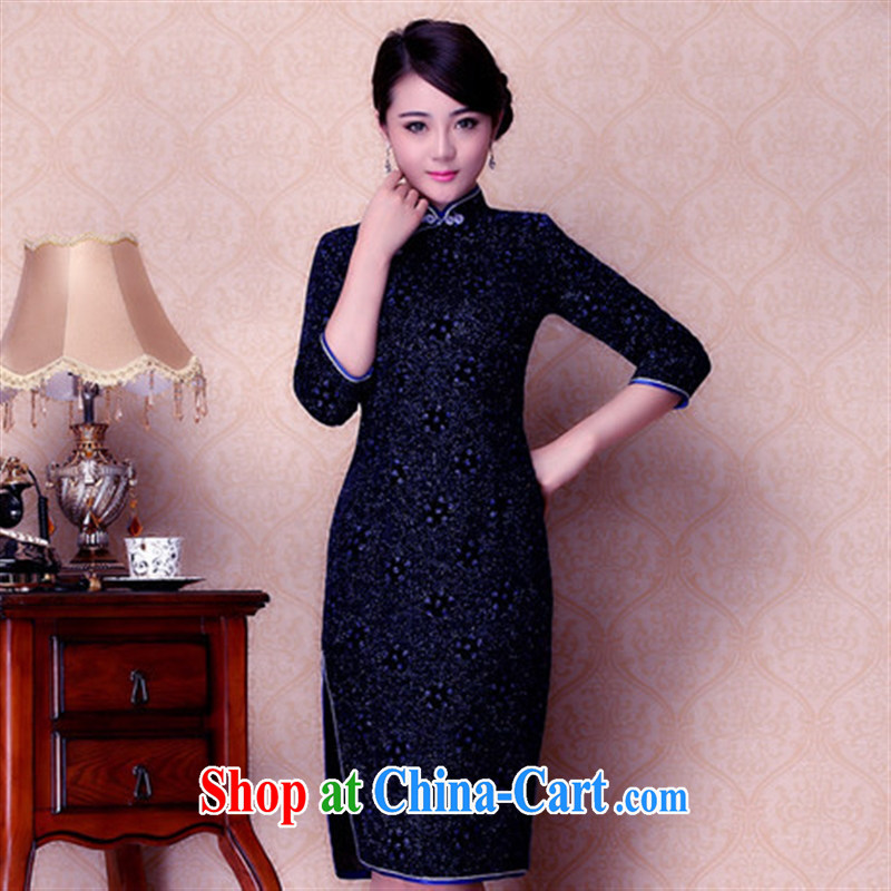 2014 new autumn is improved in velvet cuff cheongsam stylish warranty spots pattern cheongsam wholesale blue XXXL