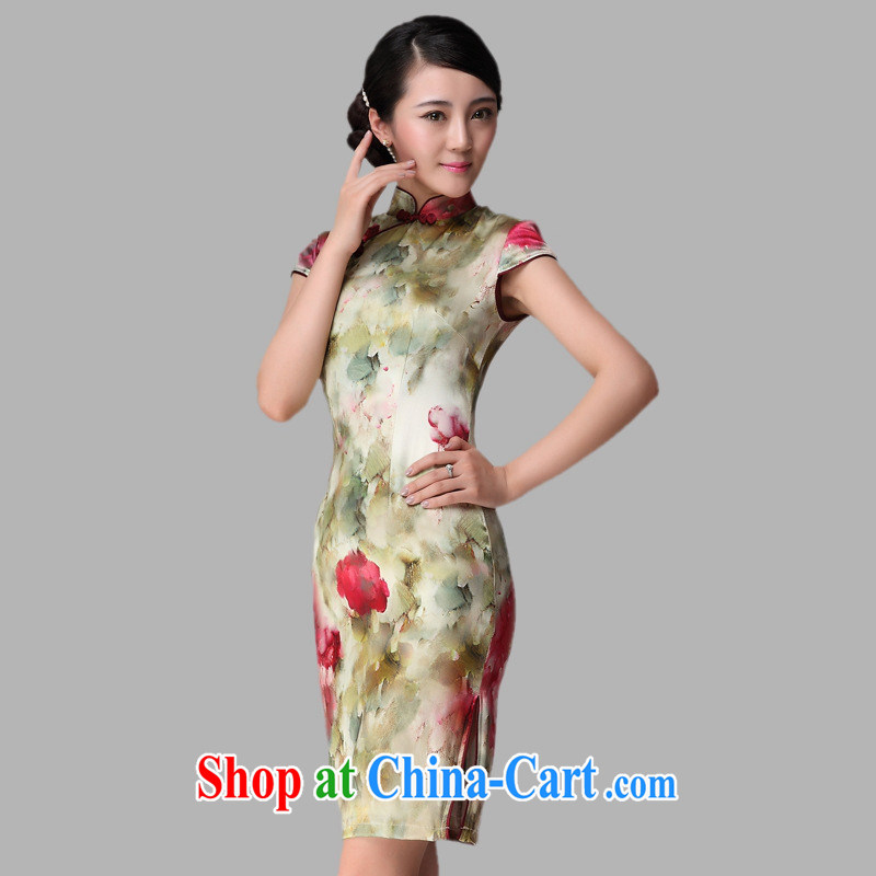 The health standard heavy Silk Cheongsam summer new short-sleeved girls retro, long, Silk Cheongsam picture color XXL