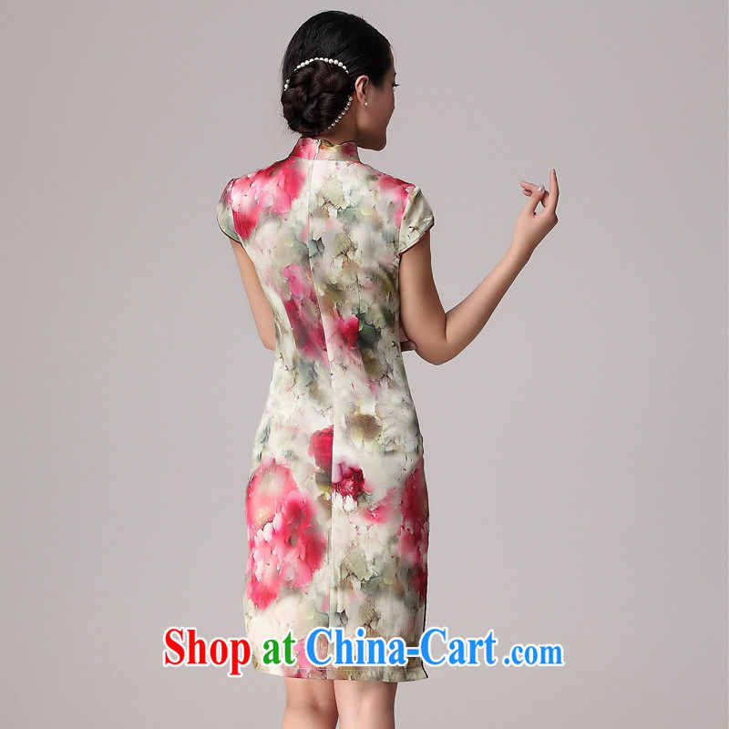 The health standard heavy Silk Cheongsam summer new short-sleeved girls retro, long, Silk Cheongsam picture color XXL, health concerns (Rvie .), and online shopping