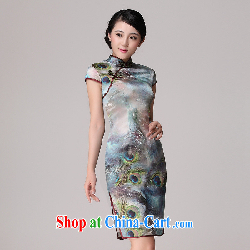 Silk Dresses summer new cheongsam dress stylish and improved heavy silk girls in long, cultivating improved cheongsam picture color XXL