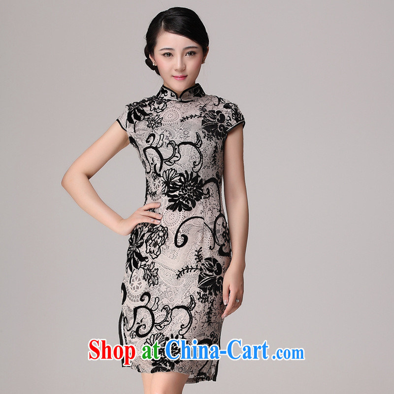 wholesale goods factory direct silk burned spend too improved short-sleeve dresses gray XXXXL
