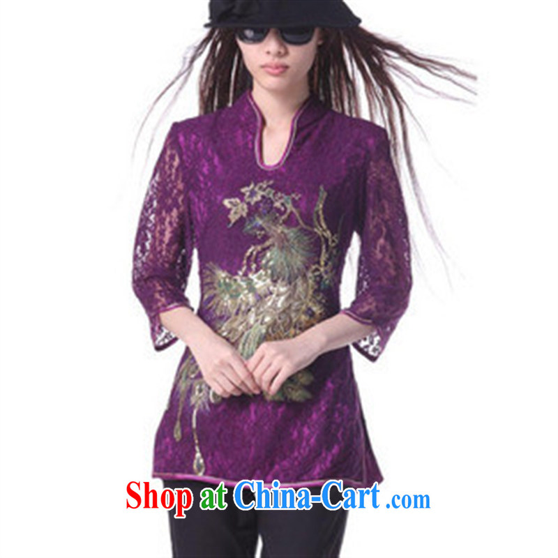 Chinese wholesale Phoenix Youth Pre-employment Training in classical cuff Chinese T-shirt/lace Chinese T-shirt purple S