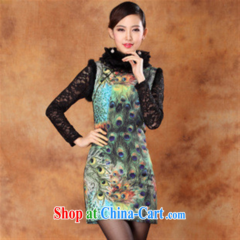 2014 new autumn and winter, new improved cheongsam stylish beauty dresses ethnic wind Phoenix cheongsam green XL