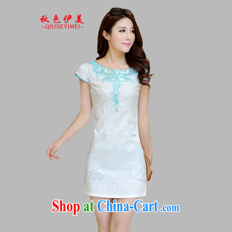 Colors of autumn, the US 2015 new summer dress improved daily short-sleeved cultivating ethnic wind dresses, long dresses Evening Dress blue XL
