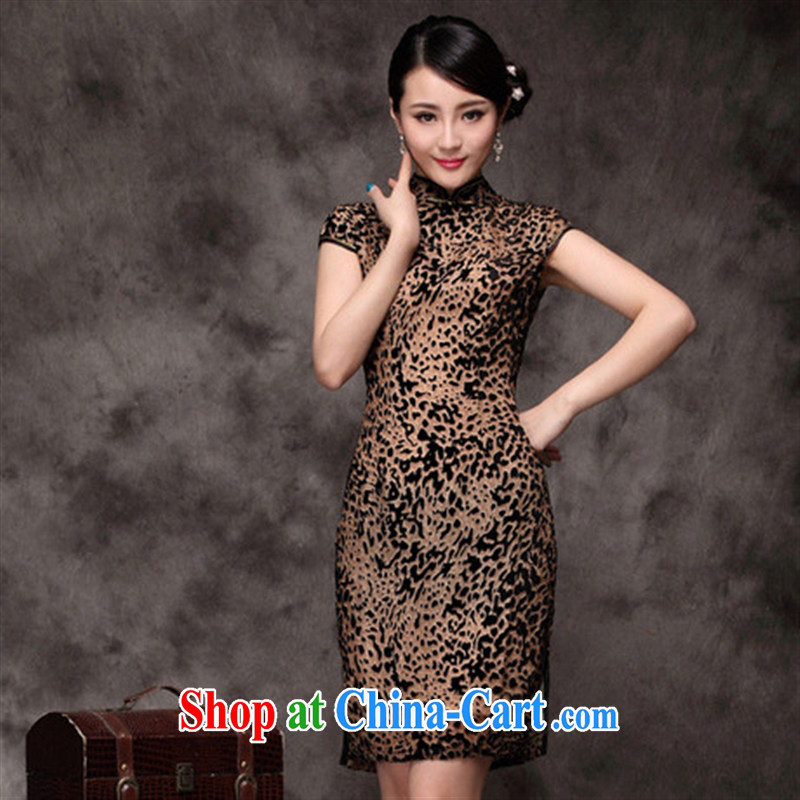cheongsam wholesale 2014 new autumn, Leopard Silk Velvet improved cheongsam yellow XXXXL