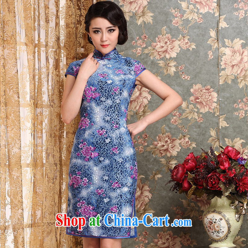 Summer 2014 new, long cheongsam Korean lint-free cloth robes improved antique dresses beauty picture color XXXL