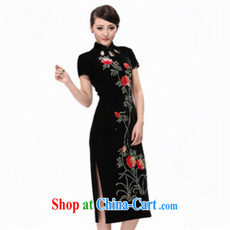 quite nimble with scouring pads manually staple Pearl dresses/dress/long cheongsam/wool dresses purple XXXXL