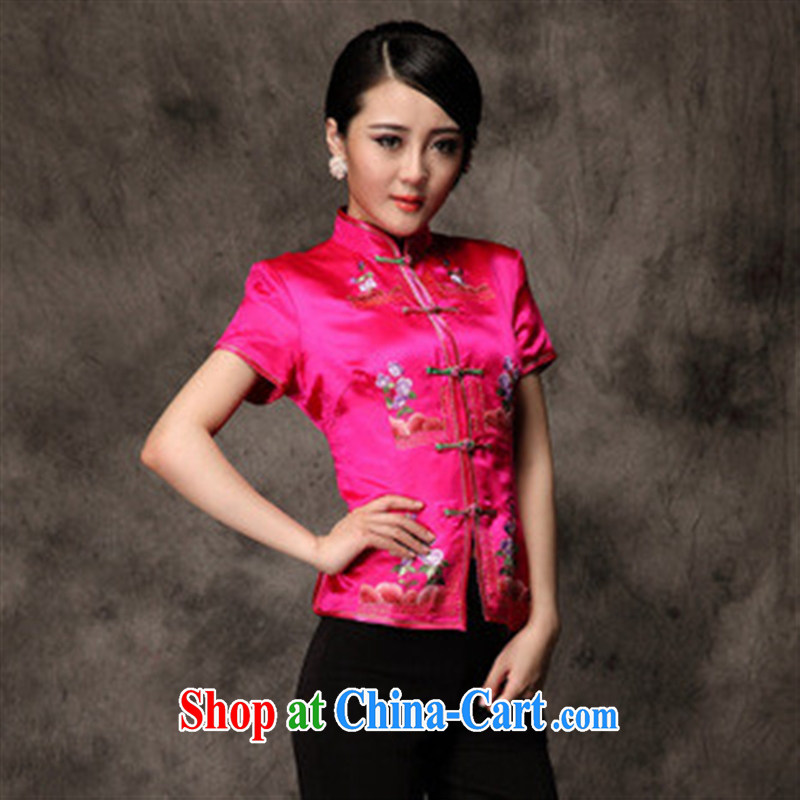 As soon as possible the original upscale silk Satin spring new short-sleeved clothes embroidery t-shirt Chinese Ethnic Wind the red XXL