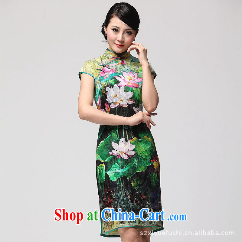 2014 new stylish Lotus summer improved cheongsam beauty double-flap silk day dresses picture color XXL