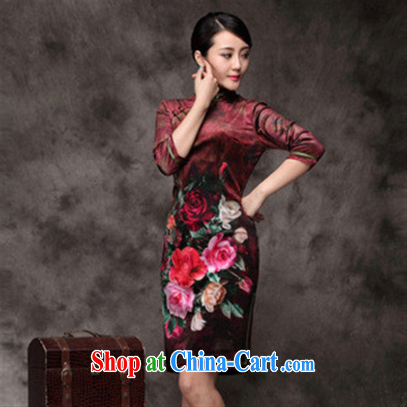 Winter new and improved cultivation in cheongsam long-sleeved qipao upscale Korean lint-free daily outfit red XXXL