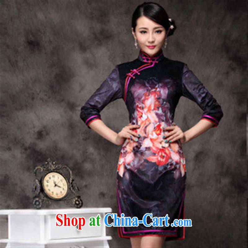 fall and winter New Paragraph Style long dresses, cheongsam cuff improved daily outfit Korean lint-free cloth purple XXXL