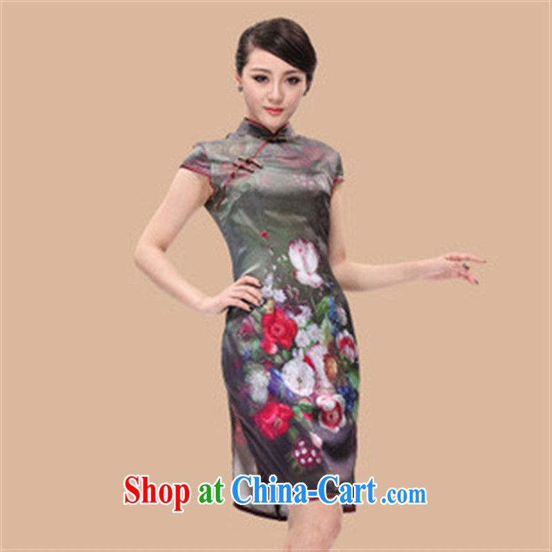 cheongsam wholesale summer new beauty and stylish traditional Peony heavy Silk Cheongsam picture color XL