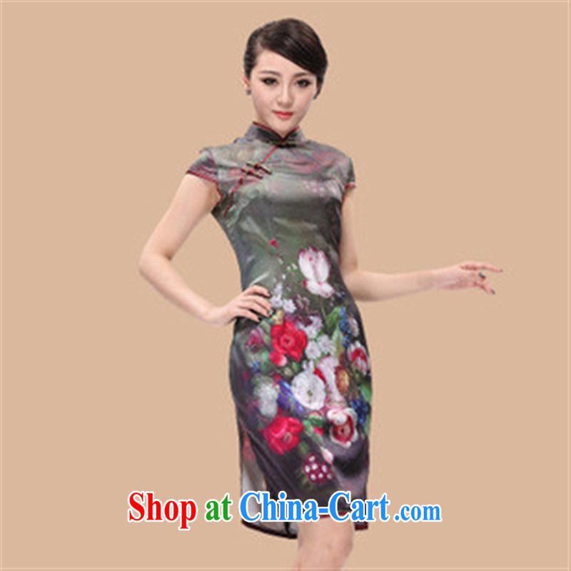 cheongsam wholesale summer new beauty and stylish traditional Peony heavy Silk Cheongsam picture color XL