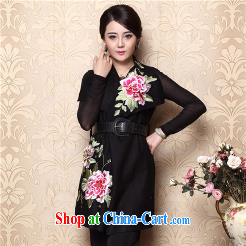 Blossoming 2014 winter new Chinese Ethnic Wind blouses embroidered Chinese a black XL