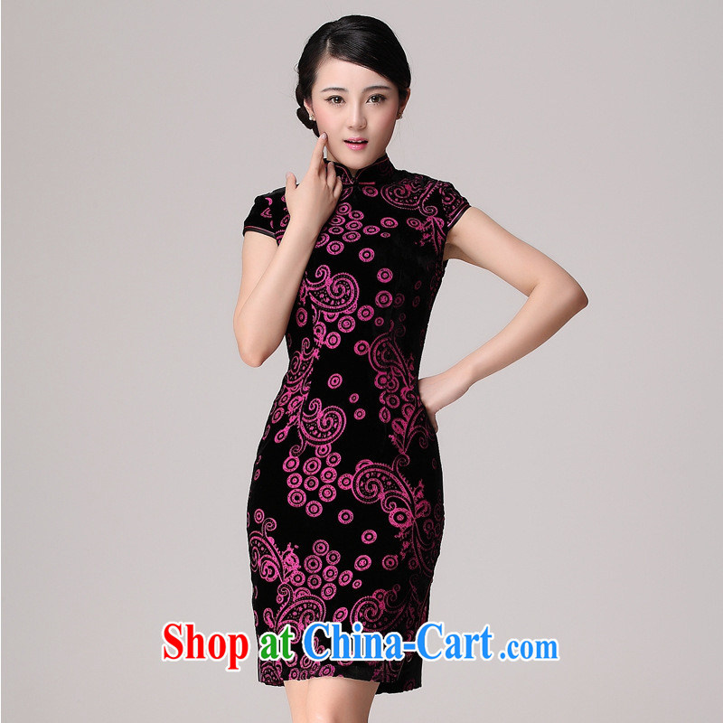Summer 2014 New Silk Cheongsam dress improved cultivating silk black flower lint-free cloth robes the forklift truck cheongsam picture color XXXL