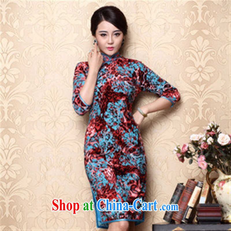 2014 fall/winter new long-sleeved improved retro dresses stretch velour cheongsam wholesale red XXXL