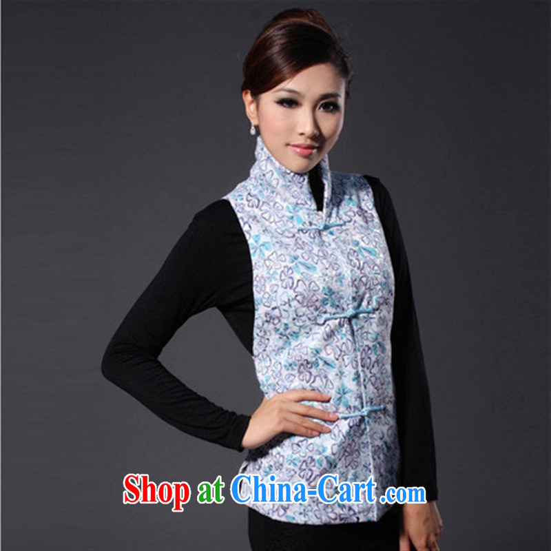 elections -- 2014 cheongsam-Ma _a_ fall and winter, Chinese, the lumbar Sau San Tong T-shirt with vertical blue XXL